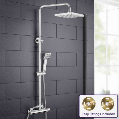 Rosa Square Thermostatic Dual Control Riser Slider Shower Mixer & Easy Fittings