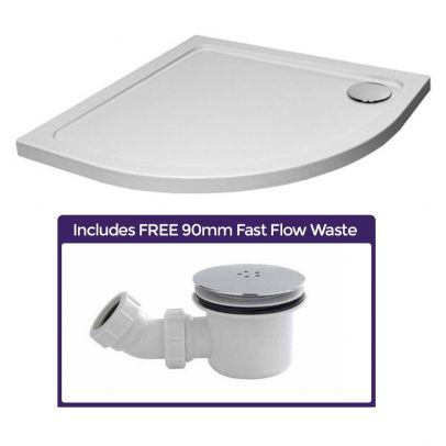 900 x 900 Slim Line Quadrant Shower Tray with Low Profile and Free Waste