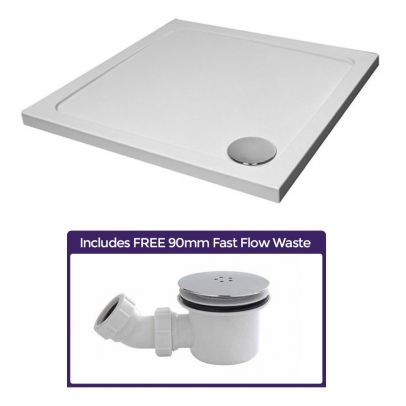 Modern Square 800 x 800 Shower Tray for Wetroom Stone Resin with Waste Plug