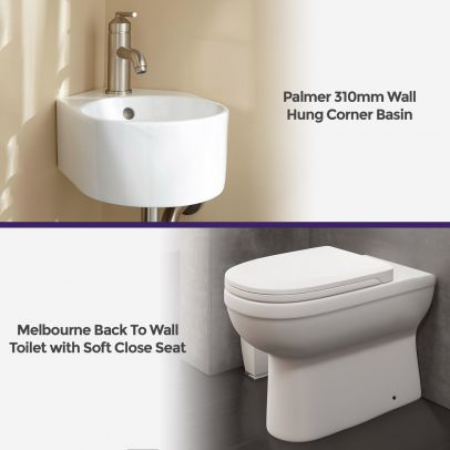 Melbourne Bathroom Ceramic Round Back To Wall Pan Toilet Soft Close Seat & Basin