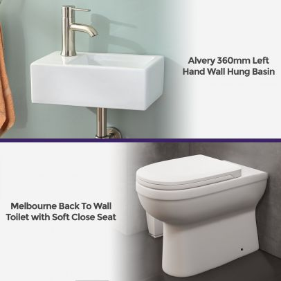 Melbourne Ceramic Round Back To Wall Pan & Toilet Seat Wall Hung Basin Left Hand