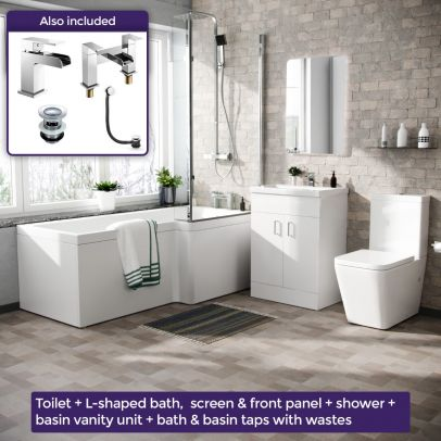 Cann L-Shaped Right Handed Bath Set, Close Coupled Toilet, 600mm Floor Standing Vanity Basin Unit White, Tap & Shower Suite