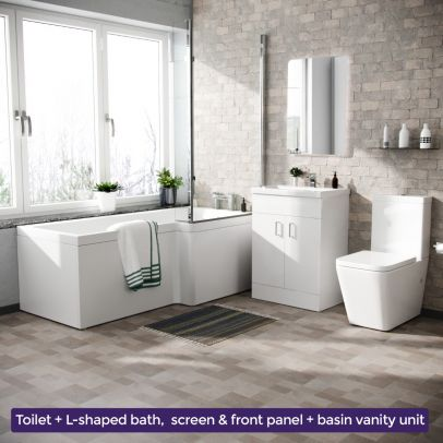Cann L-Shaped Right Handed Bath Set, Close Coupled Toilet, 600mm Floor Standing Vanity Basin Unit White Suite