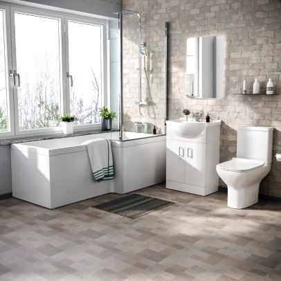 Warton L-Shaped Right Hand Side Bath Set, Front Panel, Bath Screen, Rimless Open Back CC Toilet, 550mm Floor Standing Vanity Unit White, Taps & Shower