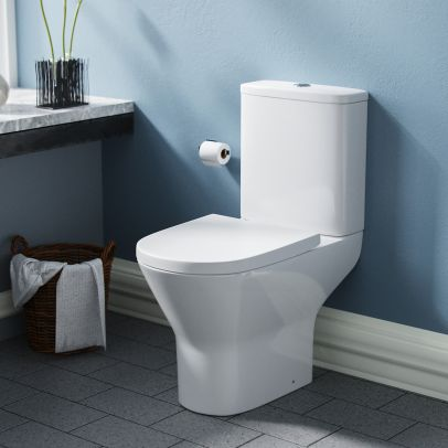 Lyde Rimless Toilet Close Coupled WC Pan Bathroom Cistern & Soft Close Seat