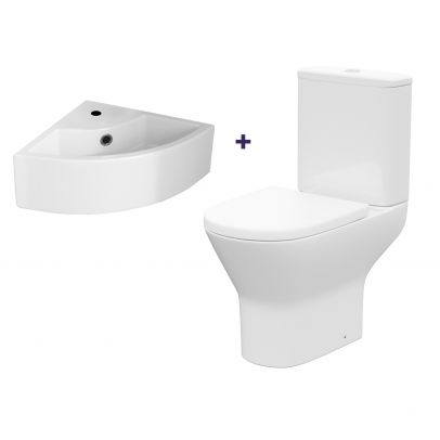 Cloakroom Quarter Circle Corner Basin & Rimless Close Coupled Toilet