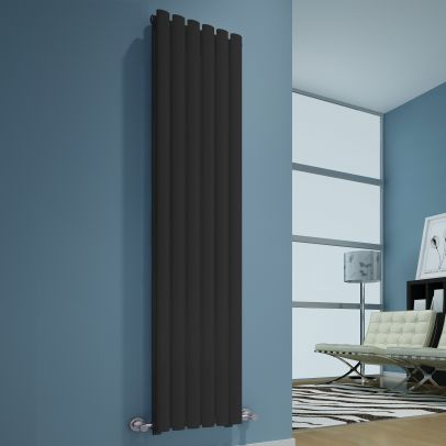 UTAH ANTHRACITE 1800X360 VERTICAL DOUBLE OVAL DESIGNER RADIATOR CENTRAL HEATING