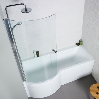 Kartell 1700 x 850mm Acrylic Square P Shaped Shower Bath + Shower Screen - Left Hand