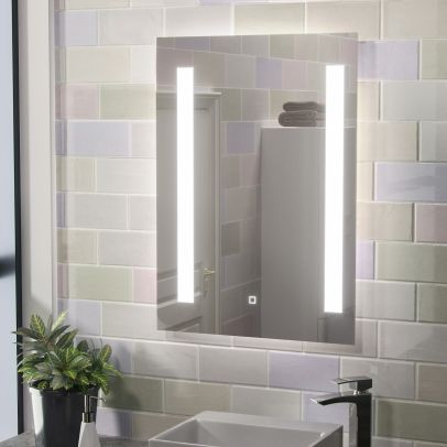 Mason Large Illuminated LED Bathroom Mirror with Anti Fog and Touch Switch