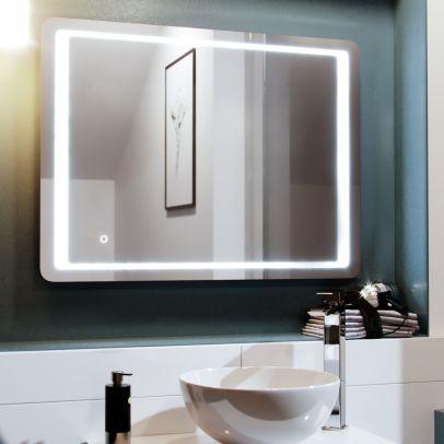 Full Inset LED 800mm x 600mm Round Corner Bathroom Mirror