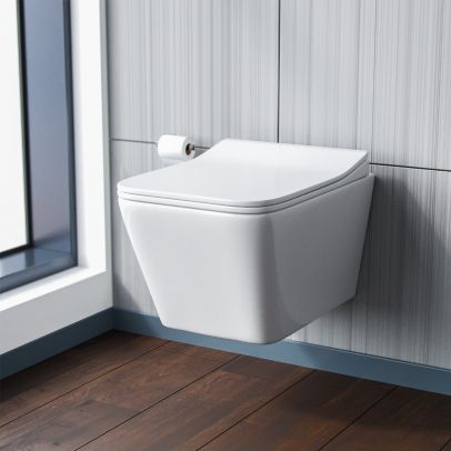 Inton Back to Wall Rimless Wall Hung Toilet Pan + Soft Close Toilet Seat