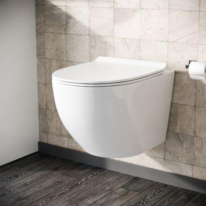 Declan Rimless Wall Hung Toilet Pan + Soft Close Toilet Seat