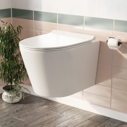 Elliss Back to Wall Rimless Wall Hung Toilet Pan + Soft Close Toilet Seat