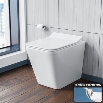 Inton Square Back to Wall Rimless Toilet Pan + Soft Close Seat
