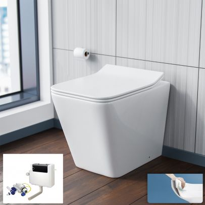 Inton Round Back to Wall Rimless Toilet Pan With Soft Close Seat + WRAS Approved Concealed Cistern