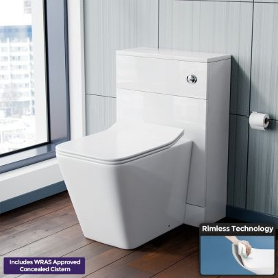 Modern D Shape Back To Wall WC Toilet and Concealed Cistern Tank