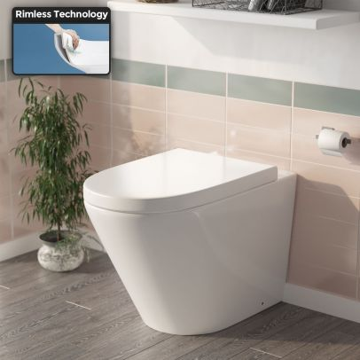 Elliss Round Back to Wall Rimless Toilet Pan With Soft Close Seat + WRAS Approved Concealed Cistern
