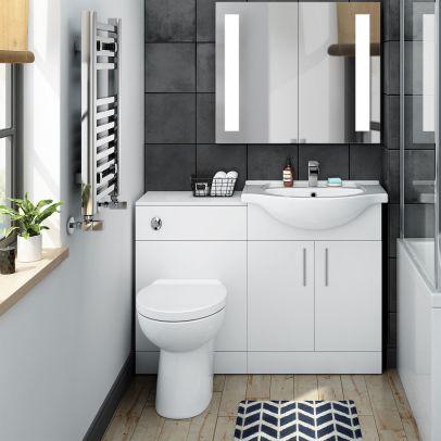 Norewood Bathroom Suite Vanity Unit Toilet Basin Back To Wall Basin Tap & Waste