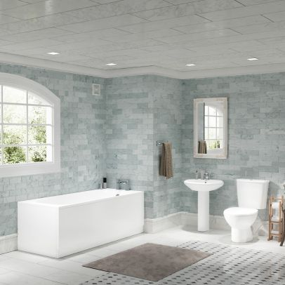 Close Coupled WC Toilet Basin and Pedestal Bathroom Suite with Mini Basin Tap and Bath Filler Taps Set