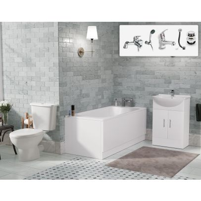 Carder 1700mm Vanity Unit Bathroom Suite Close Coupled WC Toilet Taps Waste