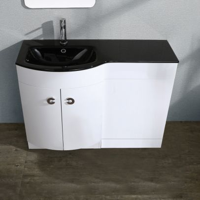 Tate 1100mm Left Hand Gloss Black Basin Vanity Unit Wc Toilet Cabinet Suite White