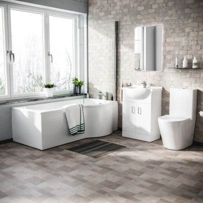 Warton P-Shaped Right Handed Bath, 550mm Floor Standing Vanity Unit and Close Coupled Toilet Suite
