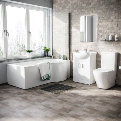 Warton P-Shaped Right Handed Bath, 550mm Floor Standing Vanity Unit and Curved Toilet Suite