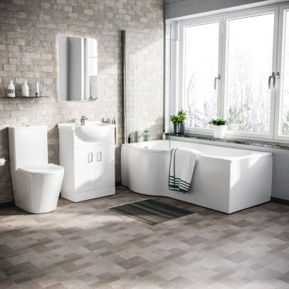 Warton P-Shaped Left Handed Bath, 550mm Floor Standing Vanity Unit and Close Coupled Toilet Suite