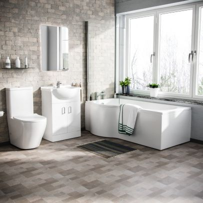 Warton P-Shaped Left Handed Bath, 550mm Floor Standing Vanity Unit and Curved Toilet Suite