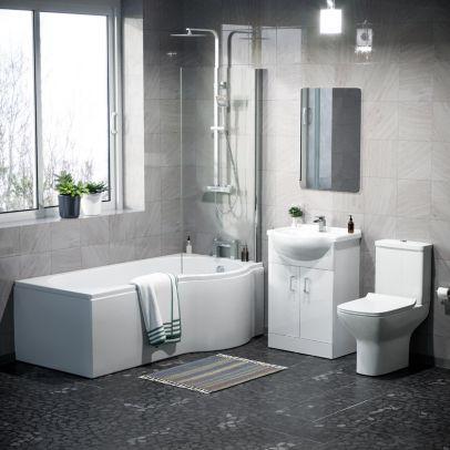 Warton P-Shaped Right Hand Side Bath Set, Front Panel, Bath Screen, Rimless Open Back CC Toilet, 550mm Floor Standing Vanity Unit White, Taps & Shower