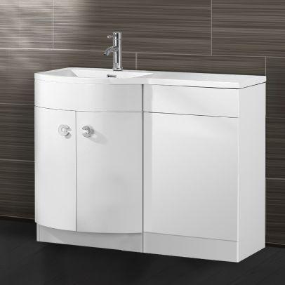 Dene 1100mm LH Bathroom D Shape Basin Vanity Unit White