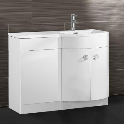 Dene 1100mm RH Bathroom D Shape Basin Vanity Unit White