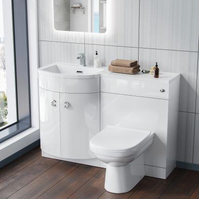 Dene LH White Vanity Sink and Debra BTW Toilet Combo Unit