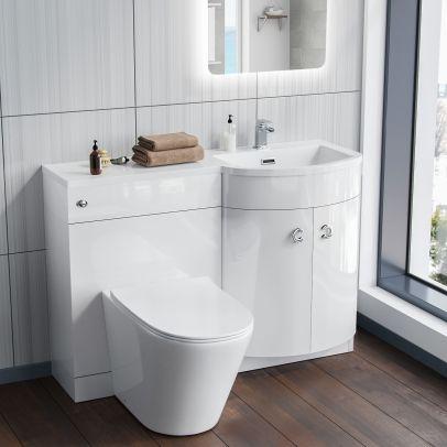 Elen Bathroom White P-Shape Basin Vanity Unit WC BTW Toilet RH 1100mm