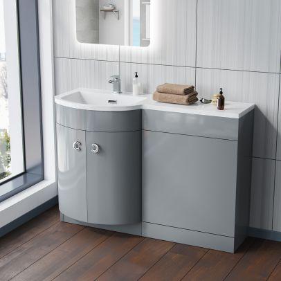 Dene 1100mm LH Bathroom Vanity Basin Unit Light Grey