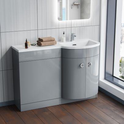 Dene 1100mm RH Bathroom Vanity Basin Unit Light Grey