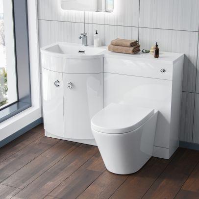 Dene 1100 mm LH White Vanity Unit and BTW WC Toilet Cabinet