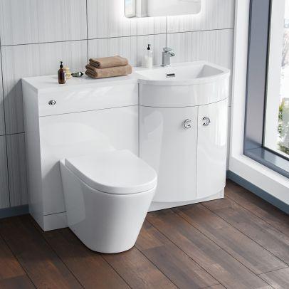 Dene White Right Hand Basin Vanity Unit and BTW WC Toilet