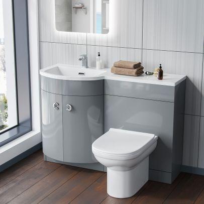 Dene 1100mm LH Bathroom Basin Combination Vanity Light Grey Unit - Eslo Back To Wall Toilet