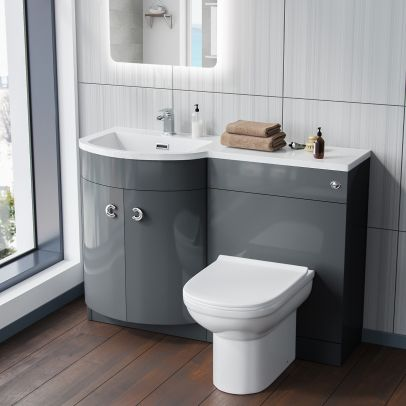 Dene 1100mm LH Bathroom Basin Combination Vanity Grey Unit - Eslo Back To Wall Toilet