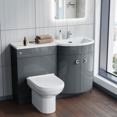 Dene 1100mm RH Bathroom Basin Combination Vanity Grey Unit - Eslo Back To Wall Toilet