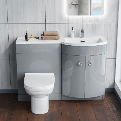 Dene 1100mm RH Bathroom Basin Combination Vanity Light Grey Unit - Eslo Back To Wall Toilet