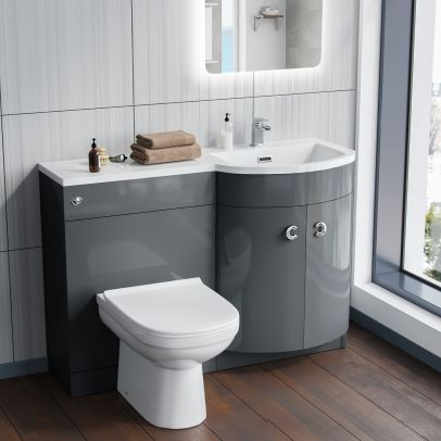 Dene RH Grey Vanity Sink and Debra BTW Toilet Combo Unit
