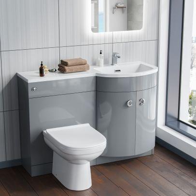 Dene RH Light Grey Vanity Sink and Debra BTW Toilet Combo Unit