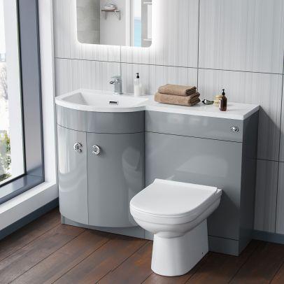 Dene LH Light Grey Vanity Sink and Debra BTW Toilet Combo Unit