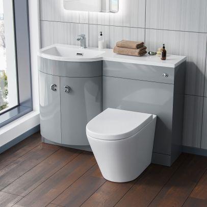 Dene Light Grey Left Hand Basin Vanity Unit and WC Toilet