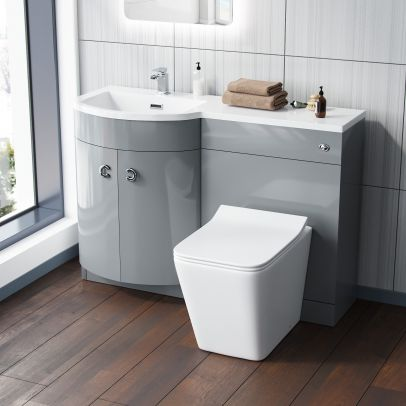 Dene 1100 mm Light Grey Vanity Unit and WC Back To Wall Toilet