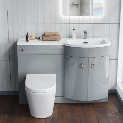 Grady 1100mm Light Grey Resin Basin With Wall Toilet