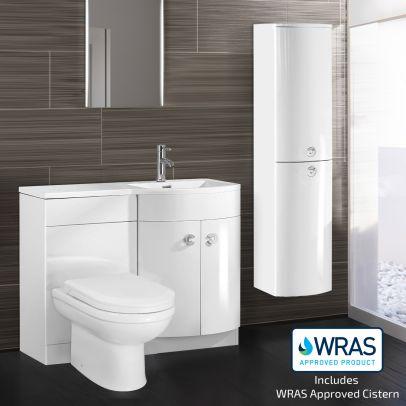 DENE Right Hand White Gloss Basin Vanity Unit WC Toilet Unit + Side Cabinet Suite - 1100mm
