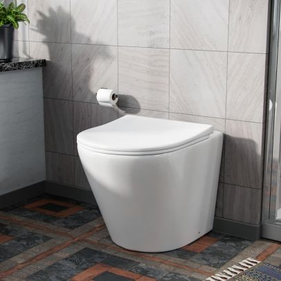 Eddy Modern Cloakroom BTW WC Curved Toilet and Soft Close Seat
